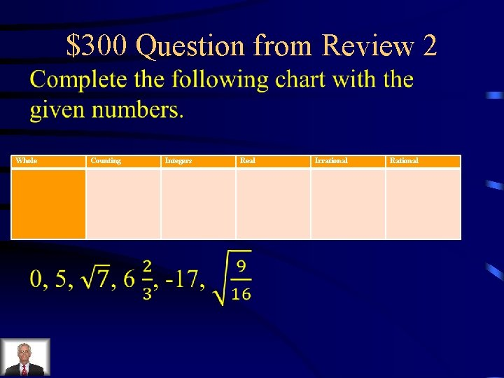 $300 Question from Review 2 Whole Counting Integers Real Irrational Rational