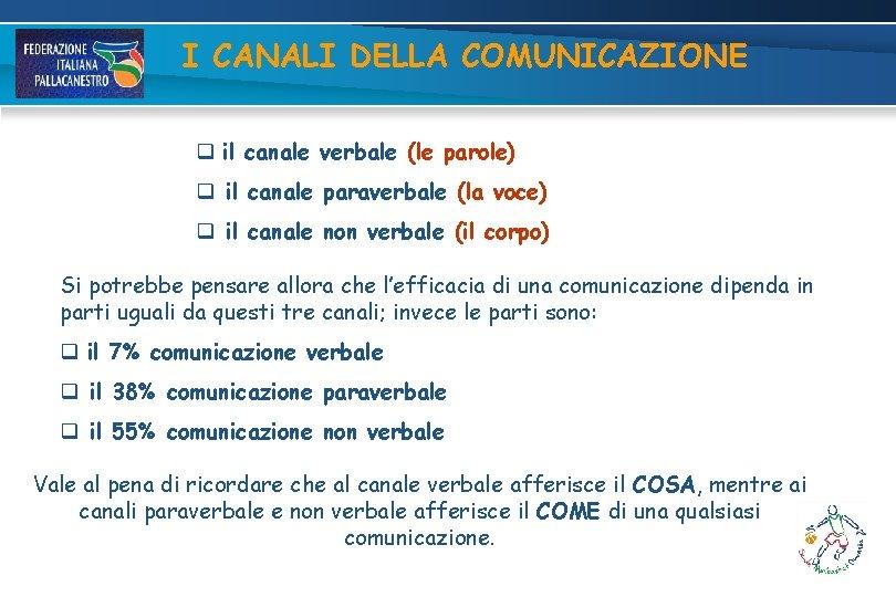 I CANALI DELLA COMUNICAZIONE q il canale verbale (le parole) q il canale paraverbale