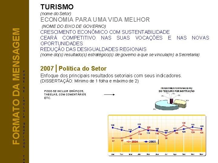TURISMO (nome do Setor) FORMATO DA MENSAGEM ECONOMIA PARA UMA VIDA MELHOR (NOME DO