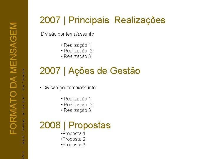 FORMATO DA MENSAGEM 2007   Principais Realizações Divisão por tema/assunto • Realização 1 •