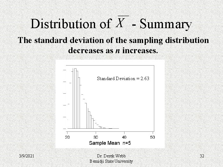 Distribution of - Summary The standard deviation of the sampling distribution decreases as n