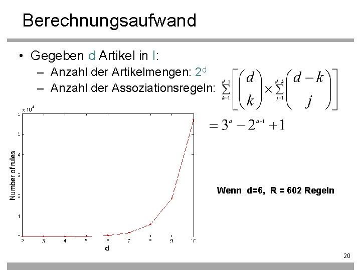 Berechnungsaufwand • Gegeben d Artikel in I: – Anzahl der Artikelmengen: 2 d –