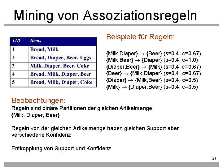 Mining von Assoziationsregeln Beispiele für Regeln: {Milk, Diaper} {Beer} (s=0. 4, c=0. 67) {Milk,