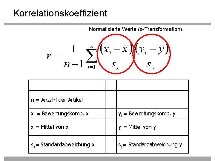 Korrelationskoeffizient Normalisierte Werte (z-Transformation) n = Anzahl der Artikel xi = Bewertungskomp. x yi