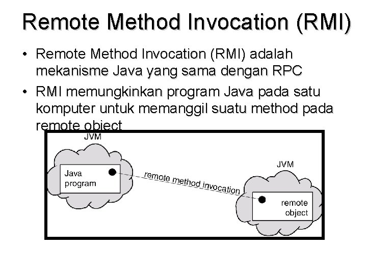 Remote Method Invocation (RMI) • Remote Method Invocation (RMI) adalah mekanisme Java yang sama