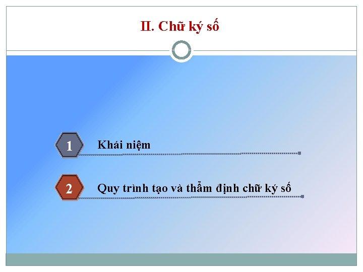 II. Chữ ký số 1 Khái niệm 2 Quy trình tạo và thẩm định