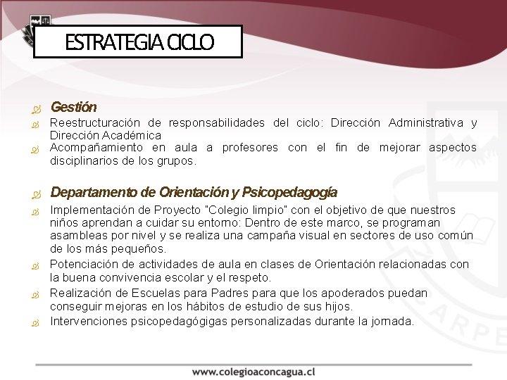 ESTRATEGIA CICLO Gestión Reestructuración de responsabilidades del ciclo: Dirección Administrativa y Dirección Académica Acompañamiento