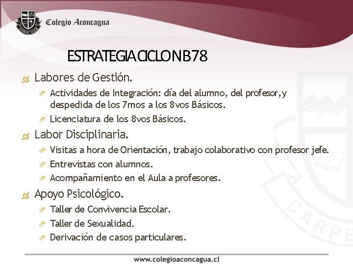 ESTRATEGIA CICLO NB 78 Labores de Gestión. Labor Disciplinaria. Actividades de Integración: día del