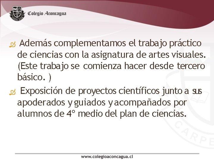 Además complementamos el trabajo práctico de ciencias con la asignatura de artes visuales.