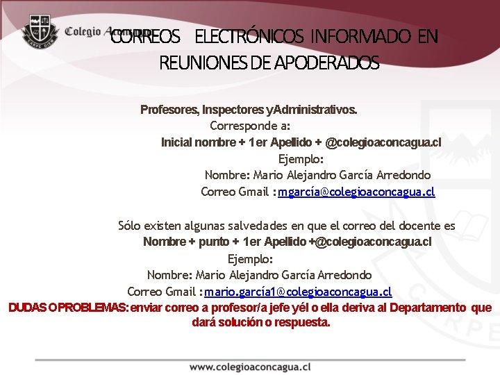 CORREOS ELECTRÓNICOS INFORMADO EN REUNIONES DE APODERADOS Profesores, Inspectores y. Administrativos. Corresponde a: Inicial
