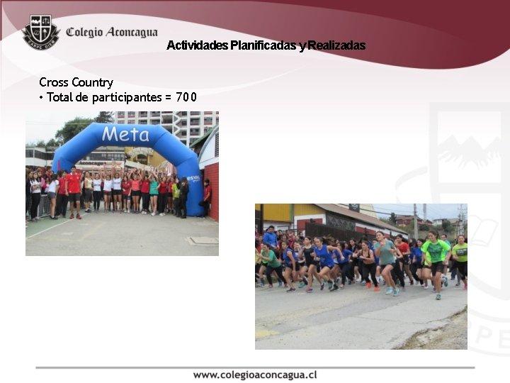 Actividades Planificadas y Realizadas Cross Country • Total de participantes = 700
