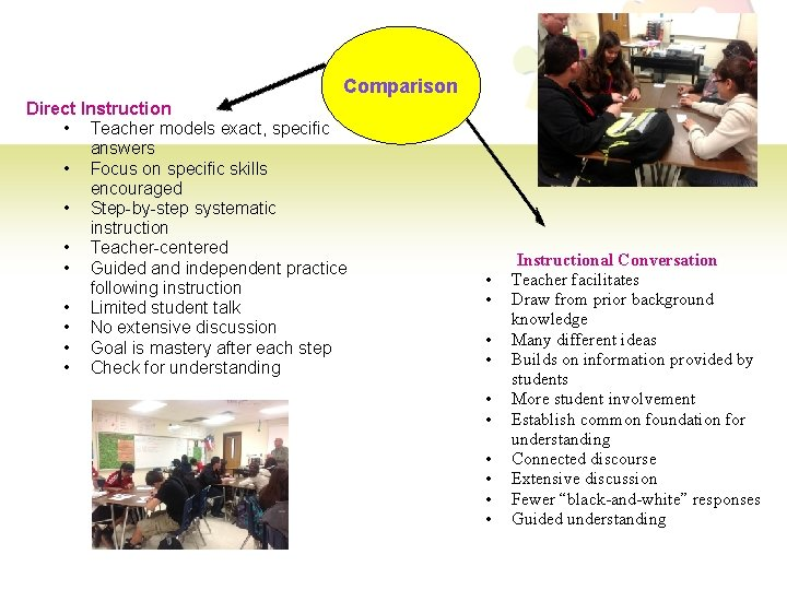 Comparison Direct Instruction • Teacher models exact, specific answers • Focus on specific skills