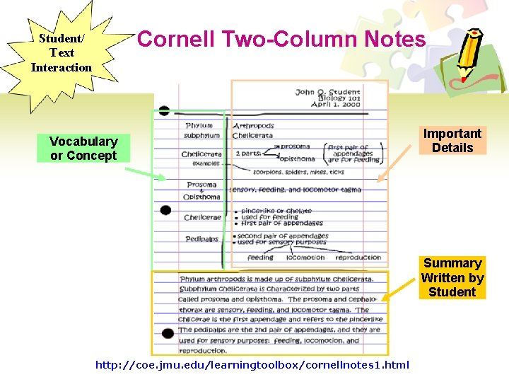 Cornell Two-Column Notes Student/ Text Interaction Vocabulary or Concept Important Details Summary Written by