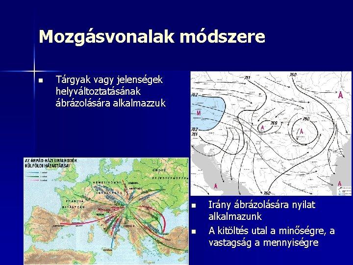 Mozgásvonalak módszere n Tárgyak vagy jelenségek helyváltoztatásának ábrázolására alkalmazzuk n n Irány ábrázolására nyilat