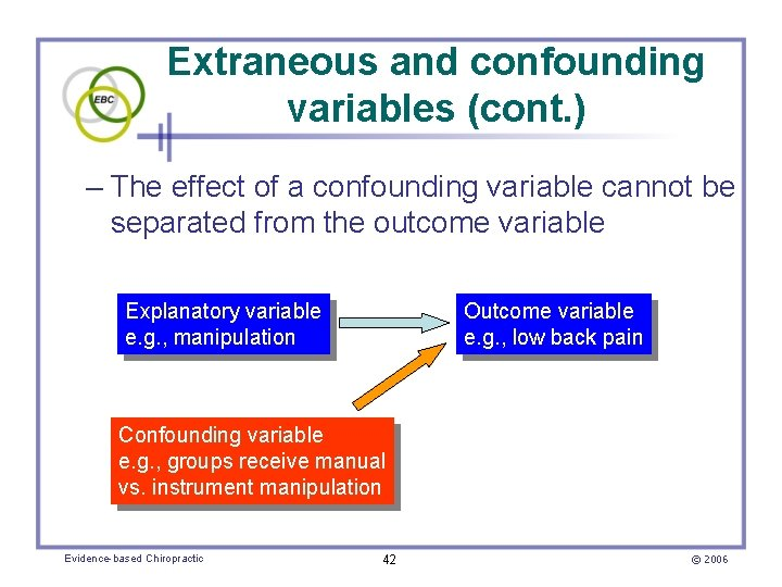 Extraneous and confounding variables (cont. ) – The effect of a confounding variable cannot