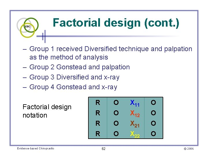 Factorial design (cont. ) – Group 1 received Diversified technique and palpation as the