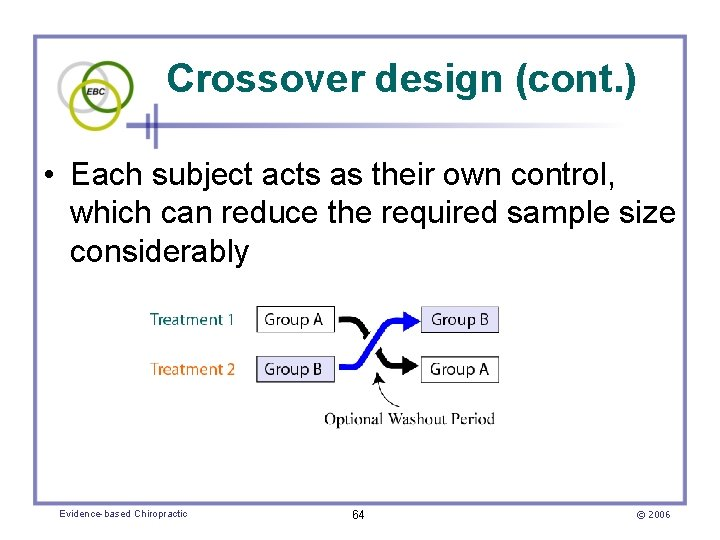 Crossover design (cont. ) • Each subject acts as their own control, which can