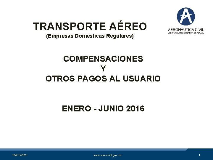 TRANSPORTE AÉREO (Empresas Domesticas Regulares) COMPENSACIONES Y OTROS PAGOS AL USUARIO ENERO - JUNIO