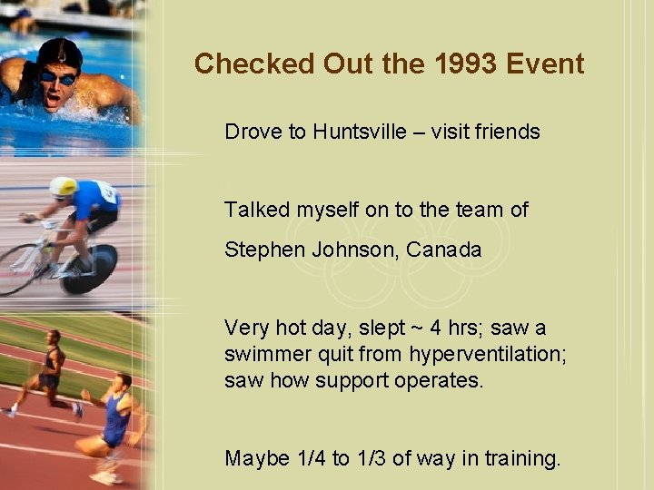Checked Out the 1993 Event Drove to Huntsville – visit friends Talked myself on
