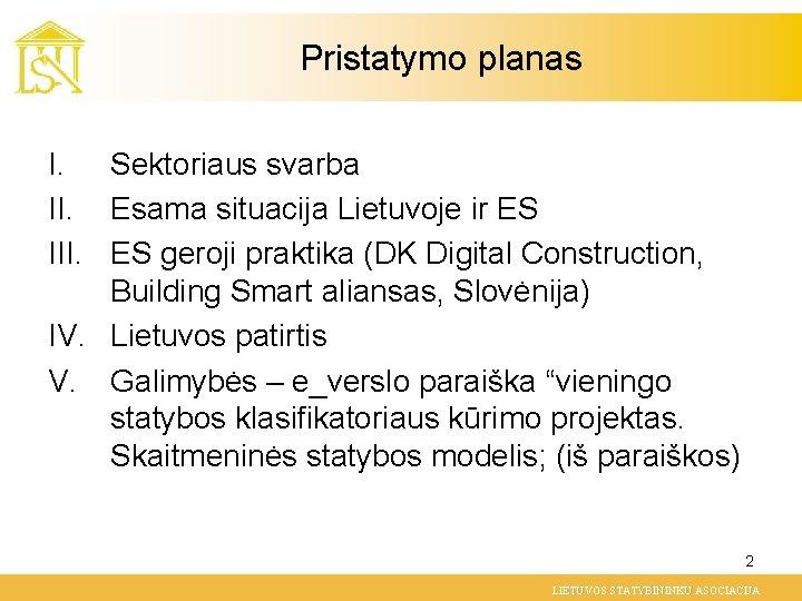 Pristatymo planas I. Sektoriaus svarba II. Esama situacija Lietuvoje ir ES III. ES geroji