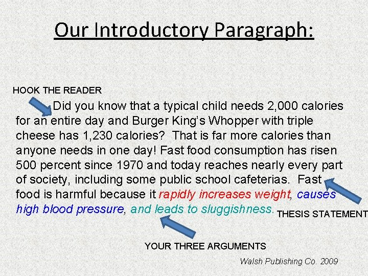 Our Introductory Paragraph: HOOK THE READER Did you know that a typical child needs