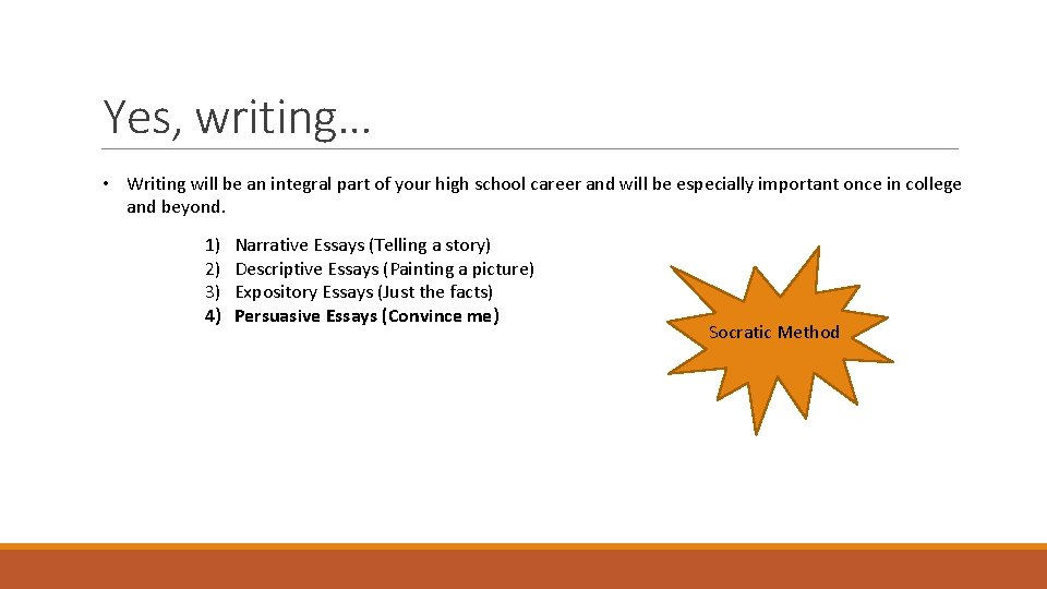 Yes, writing… • Writing will be an integral part of your high school career