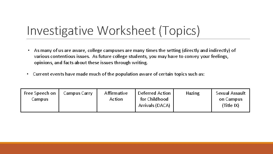 Investigative Worksheet (Topics) • As many of us are aware, college campuses are many