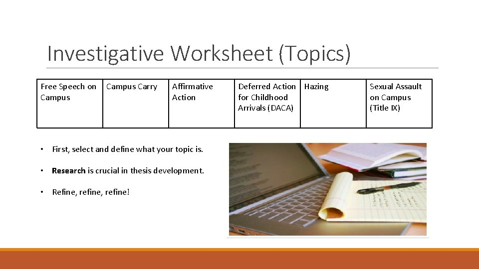 Investigative Worksheet (Topics) Free Speech on Campus Carry Affirmative Action • First, select and