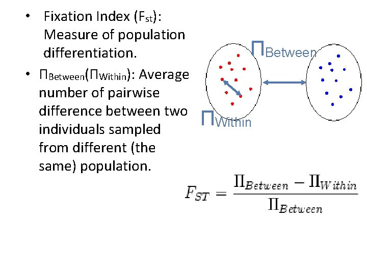 • Fixation Index (Fst): Measure of population differentiation. • ΠBetween(ΠWithin): Average number of
