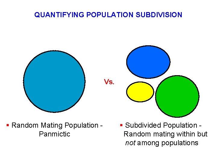 QUANTIFYING POPULATION SUBDIVISION Vs. § Random Mating Population Panmictic § Subdivided Population Random mating