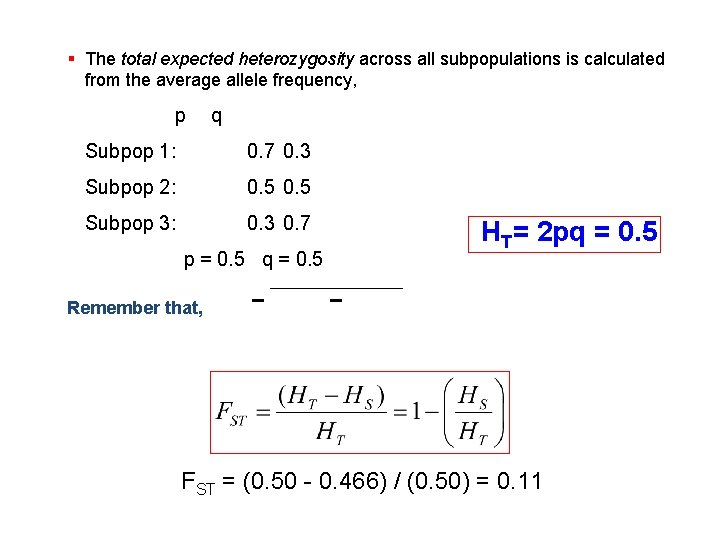 § The total expected heterozygosity across all subpopulations is calculated from the average allele
