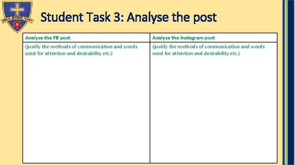 Student Task 3: Analyse the post Analyse the FB post Analyse the Instagram post