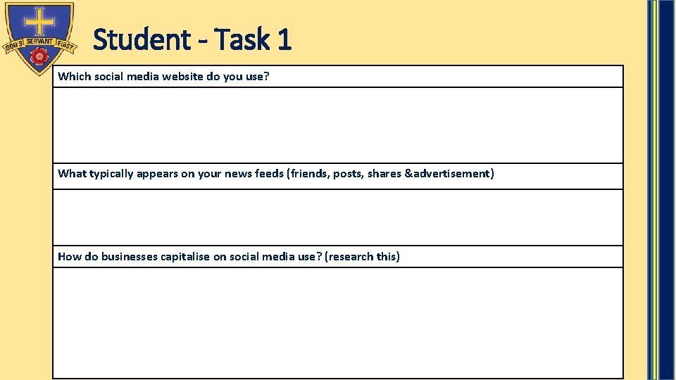Student - Task 1 Which social media website do you use? What typically appears