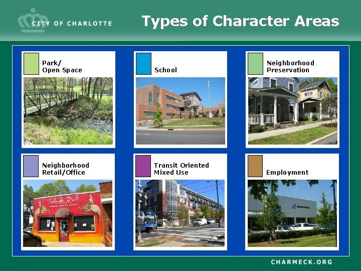 Types of Character Areas Park/ Open Space School Neighborhood Preservation Neighborhood Retail/Office Transit Oriented