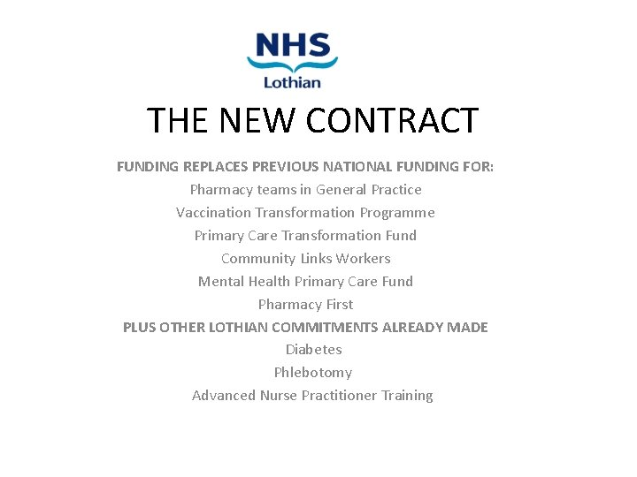 THE NEW CONTRACT FUNDING REPLACES PREVIOUS NATIONAL FUNDING FOR: Pharmacy teams in General Practice