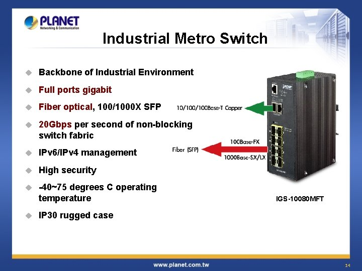 Industrial Metro Switch u Backbone of Industrial Environment u Full ports gigabit u Fiber