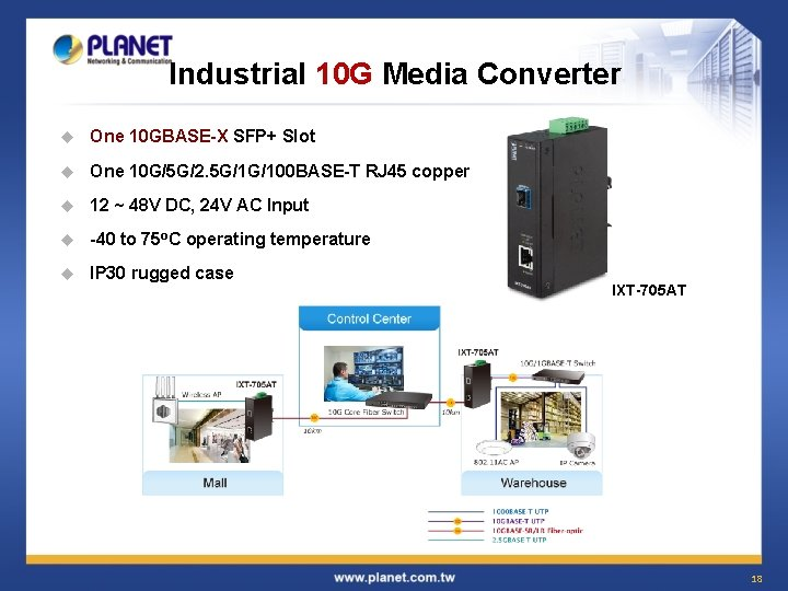 Industrial 10 G Media Converter u One 10 GBASE-X SFP+ Slot u One 10