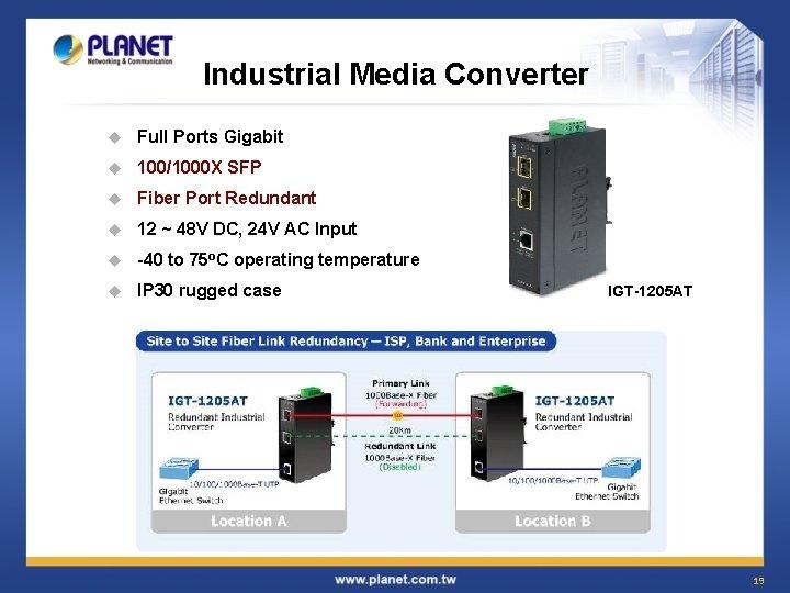 Industrial Media Converter u Full Ports Gigabit u 100/1000 X SFP u Fiber Port