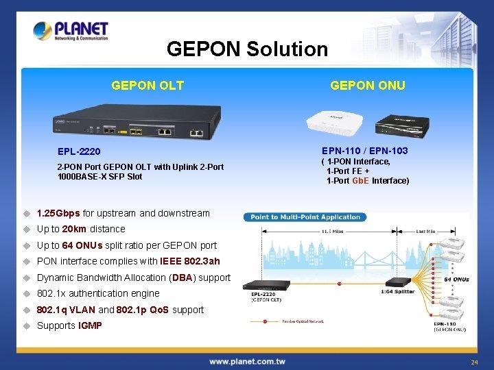 GEPON Solution GEPON OLT EPL-2220 2 -PON Port GEPON OLT with Uplink 2 -Port