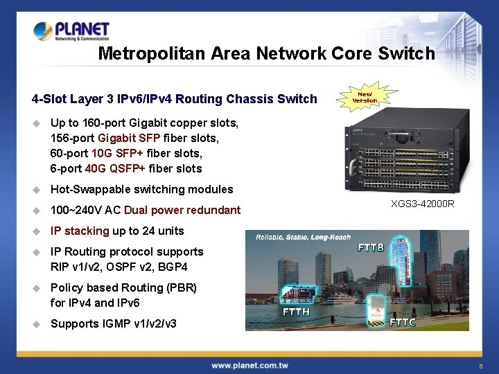 Metropolitan Area Network Core Switch 4 -Slot Layer 3 IPv 6/IPv 4 Routing Chassis