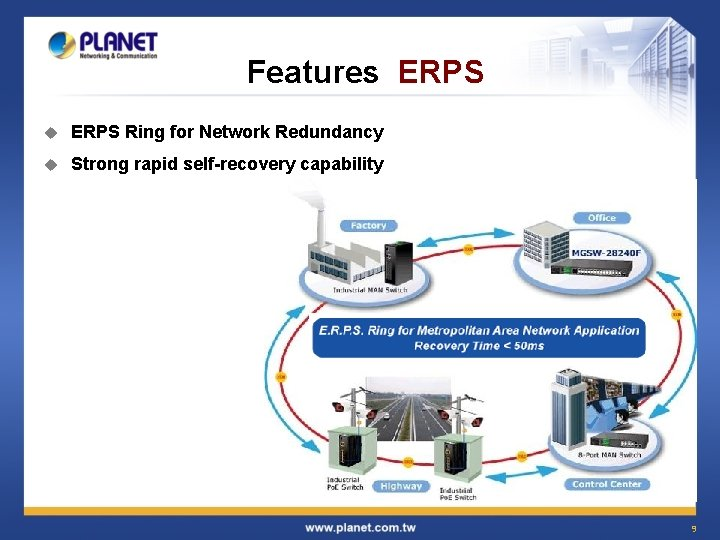 Features ERPS u ERPS Ring for Network Redundancy u Strong rapid self-recovery capability 9