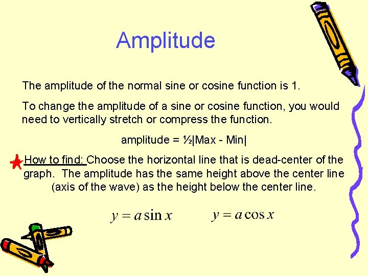 Amplitude The amplitude of the normal sine or cosine function is 1. To change