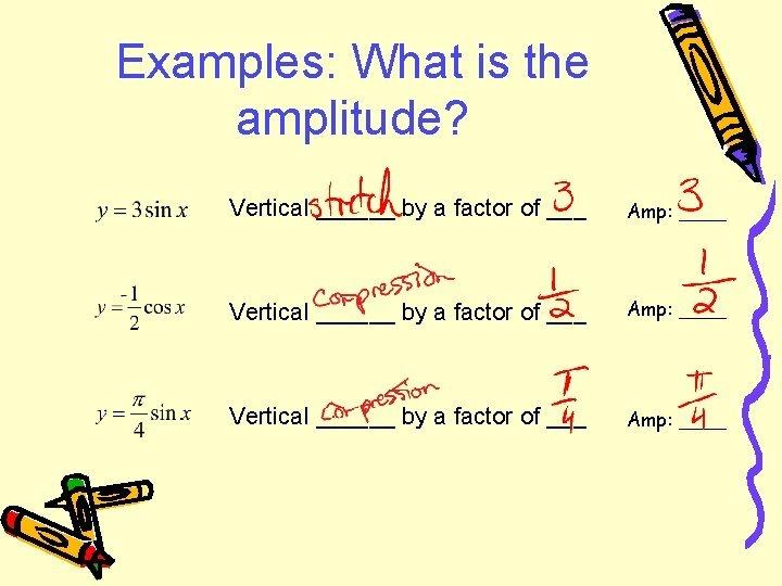 Examples: What is the amplitude? Vertical ______ by a factor of ___ Amp: ____