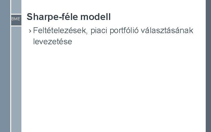 BME Sharpe-féle modell › Feltételezések, piaci portfólió választásának levezetése