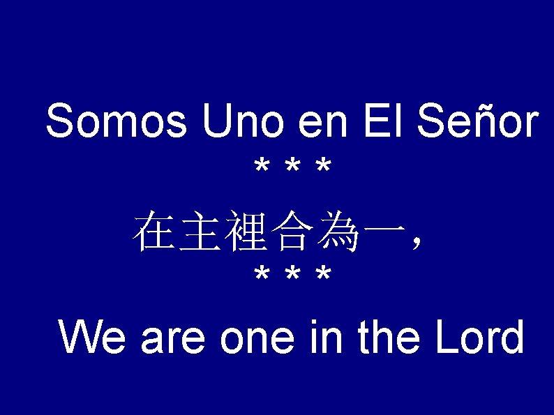 Somos Uno en El Señor *** 在主裡合為一, *** We are one in the Lord