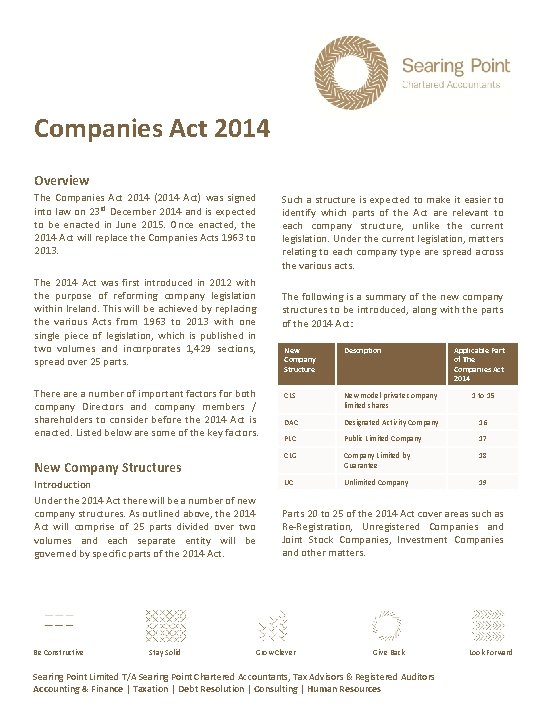 Companies Act 2014 Overview The Companies Act 2014 (2014 Act) was signed into law