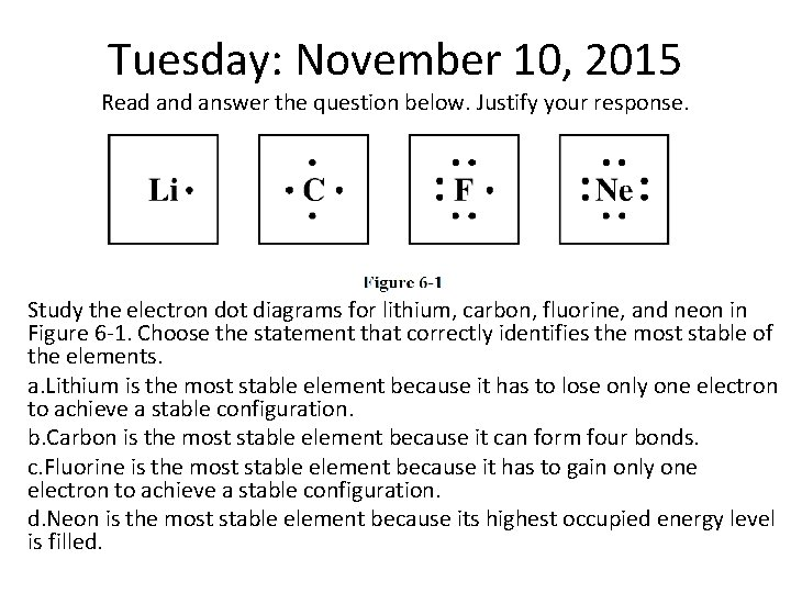 Tuesday: November 10, 2015 Read answer the question below. Justify your response. Study the