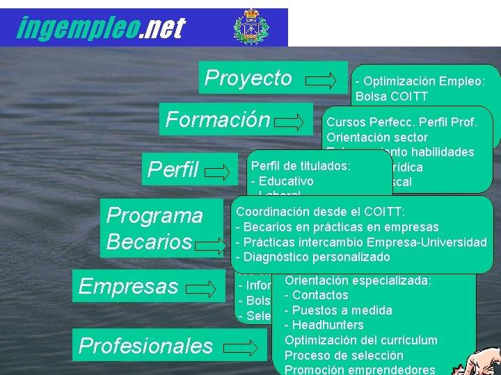 ingempleo. net Proyecto - Optimización Empleo: Bolsa COITT - Outplacement para: Cursos Perfecc. ERE
