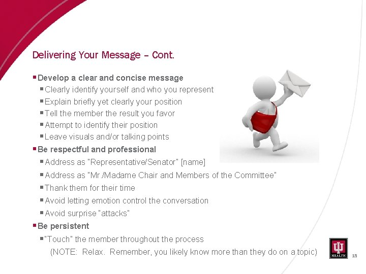 Delivering Your Message – Cont. § Develop a clear and concise message § Clearly
