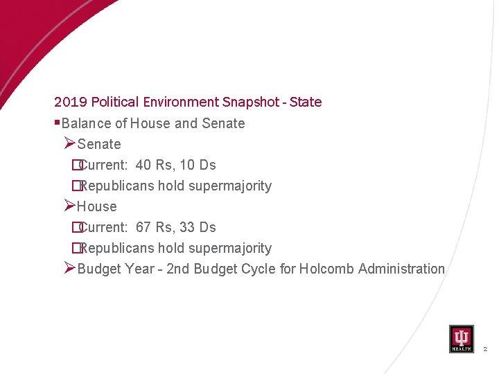 2019 Political Environment Snapshot - State §Balance of House and Senate ØSenate �Current: 40